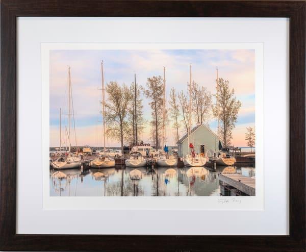 boats in marina morning light.