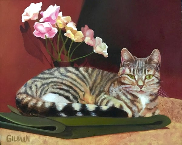 """Mia"" Oil on Masonite Cat Portrait by Emily Gilman Beezley"