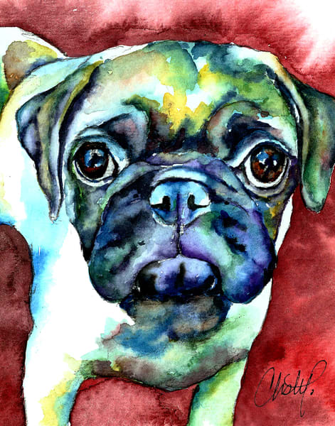 Pug Face With Red Art | Christy! Studios