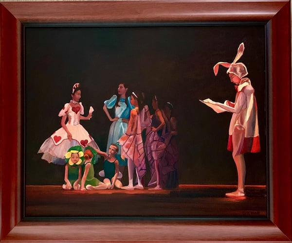 """White Rabbit"" Alice in Wonderland Inspired Ballet Original Oil on Canvas Painting"