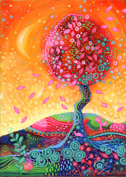 Whimsy Fire Tree, Original Painting Art   Jessica Hughes Fine Art