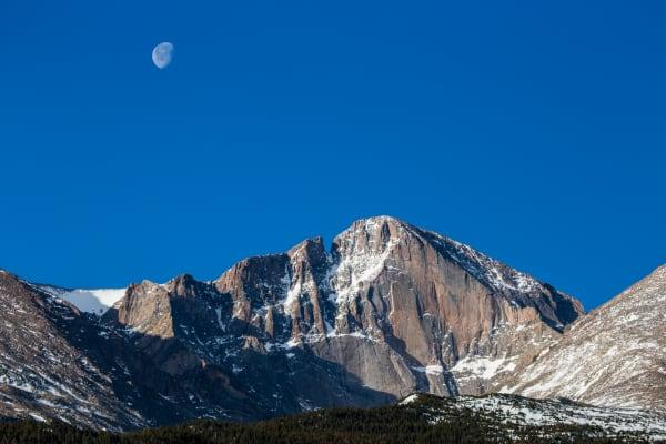Image of Longs Peak In Colorado with moon