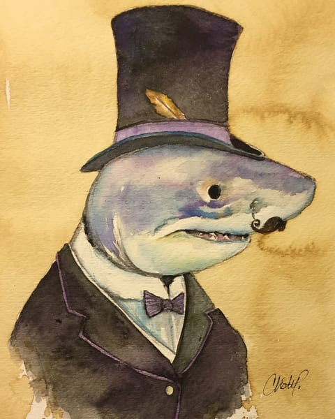 Steampunk Mr Shark Art | Christy! Studios