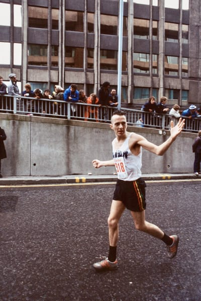 Joe Strummer at Mile 20 of the 1983 London Marathon