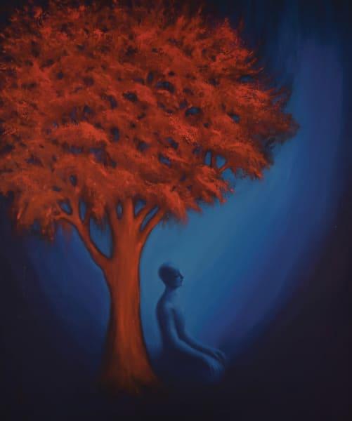limited edition print, tree, meditation, red, blue