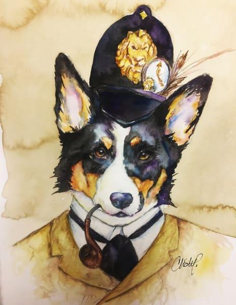 British Inspector Corgi Sherlock Steampunk Art | Christy! Studios