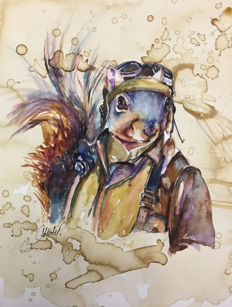 Bomber Pilot Vintage Squirrel Art | Christy! Studios
