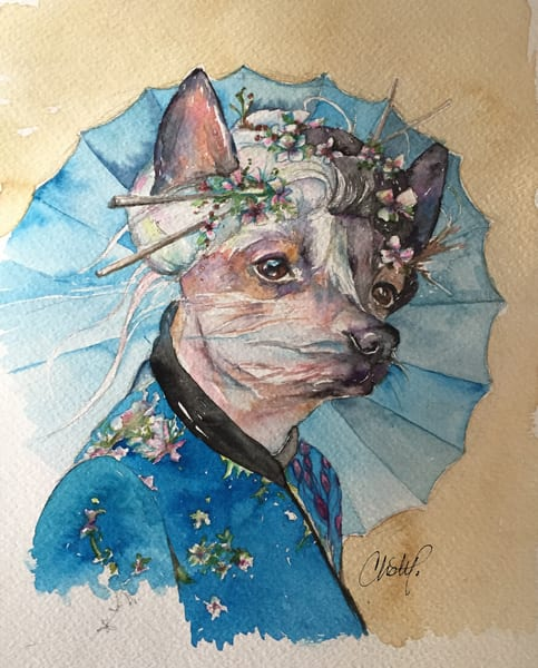 Toula Chinese Crested Steampunk Pup Art | Christy! Studios
