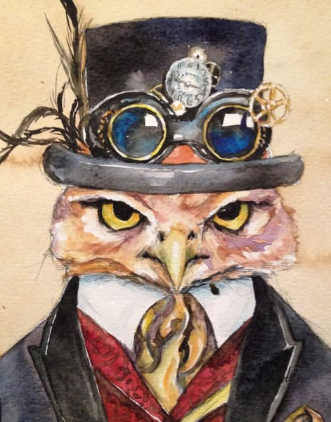 Artemis Owl Steampunk Goggled Mayor Art | Christy! Studios