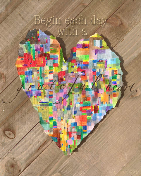 Begin Each Day With a Grateful Heart Inspirational Wall Art by Marie Stephens