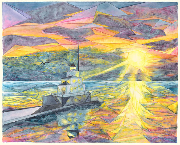 """Breakwater At Dawn"" fine art print by Matthew Campbell."