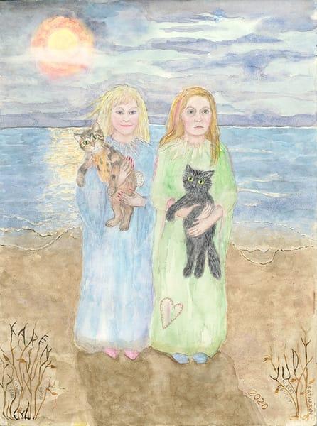 """Scandinavians on the shore with Cats"" fine art print by Judith Spielmacher."