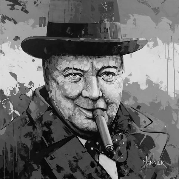 Sir Winston Churchill, Marnier, Art, Acrylic Painting