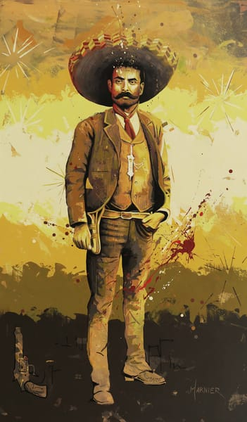 Zapata, Mexican, Marnier, Art, Acrylic, Painting