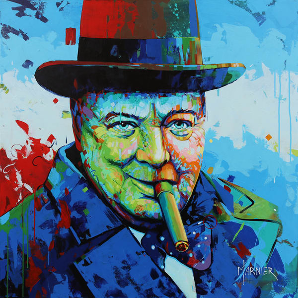 Prime Minister of United Kingdom, Churchill, Acrylic Painting, Marnier Art