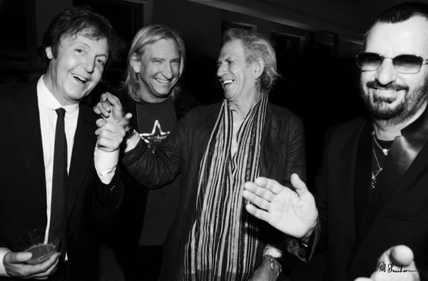 Paul McCartney, Joe Walsh, Keith Richards, Ringo Starr, photographed by Rob Shanahan at Ringo's 70th birthday celebration.