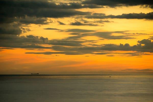 Lake Michigan Sunset, Freighter and Fishing Boat