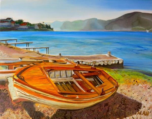 Sold: Orange Boat Art | Emily Gilman Beezley LLC