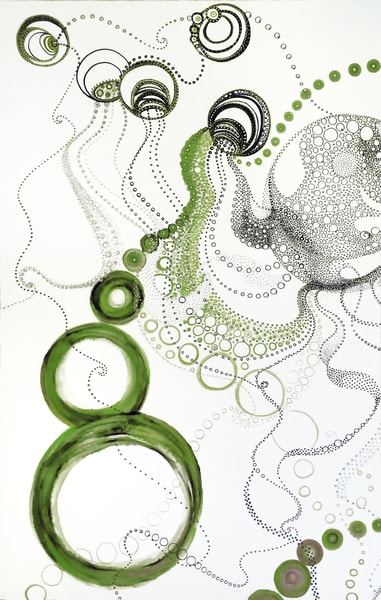 Maria's Circles 1    Greens Art | Artist Rachel Goldsmith, LLC