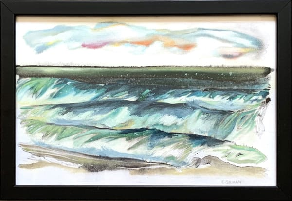 """Surf's Up"" Oil on Monotype Original Oceanscape"