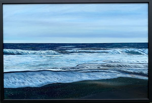 """Blue Ocean"" Oceanscape Oil on Linen Canvas Original Painting"