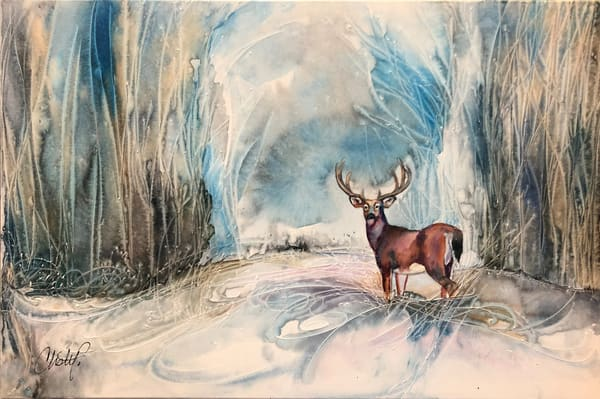 Winter Stag Original Painting Art | Christy! Studios