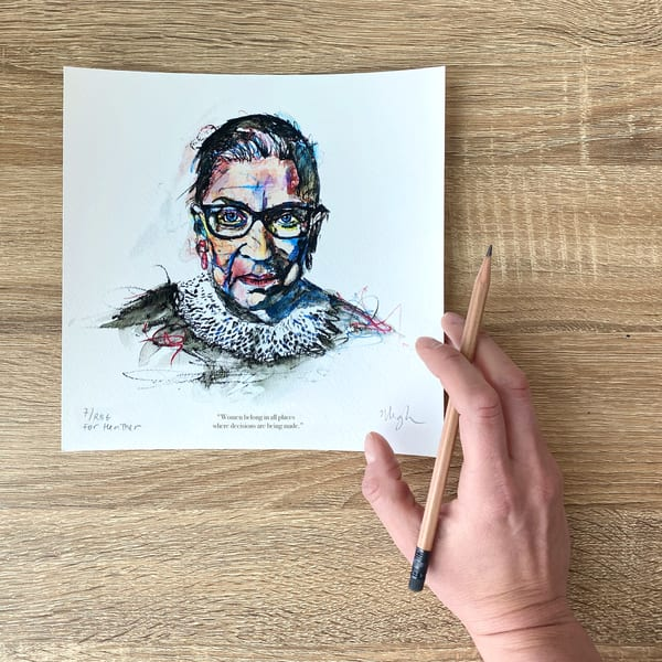 RBG, hand-personalized edition by artist Megh Knappenberger