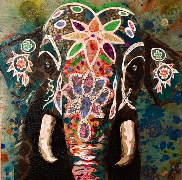 Painted Indian Elephant Art   Kristi Abbott Gallery & Studio