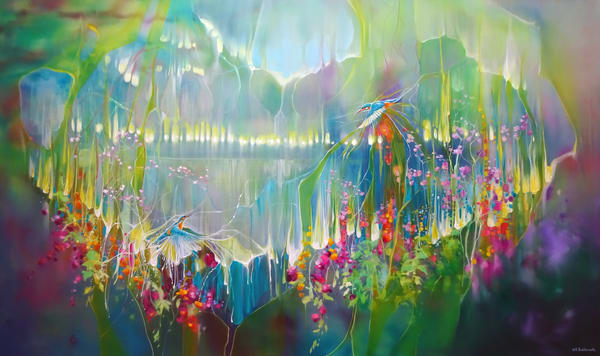 semi abstract print on canvas or paper of kingfishers flying along a riverbank in sussex