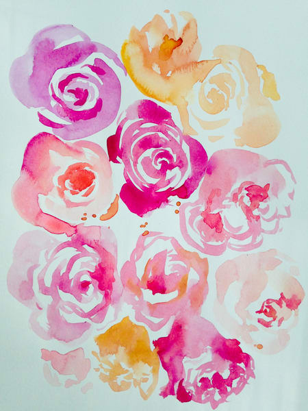 Bed Of Roses Watercolor Art | susie mccolgan art