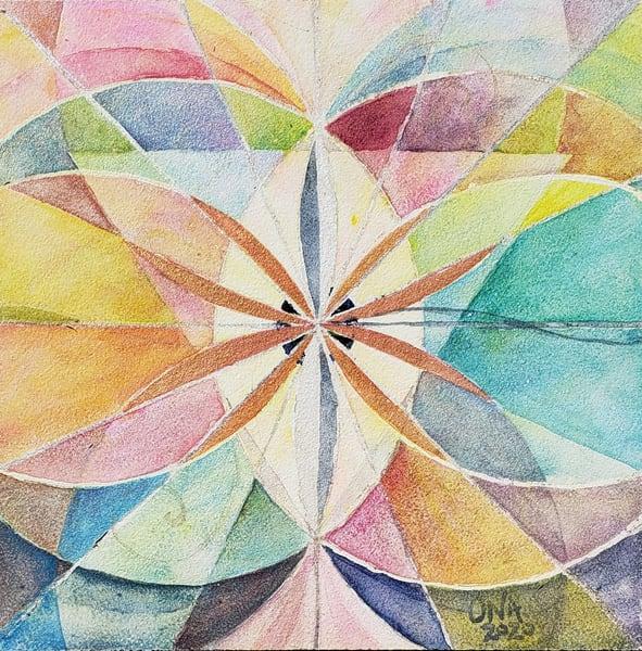 """Emergence"" Sacred Geometry Original Watercolor Painting - Vesica Piscis, Flower of Life, Divine Feminine"
