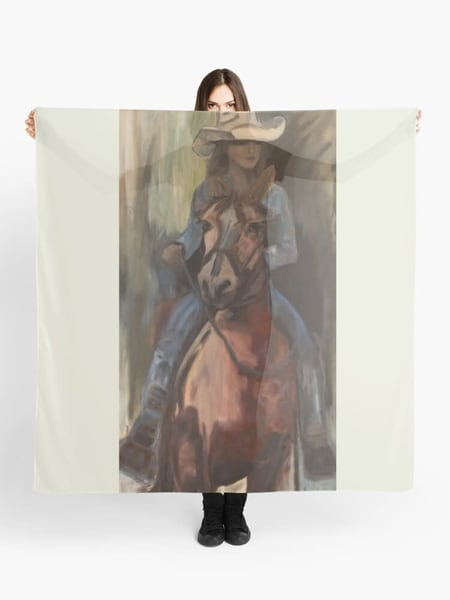 Go West Cowgirl Scarf Designed by Artist