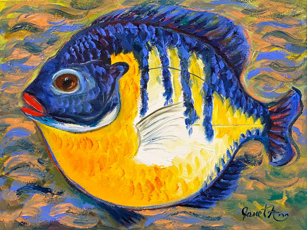 J Woods   Blue And Gold Fish Art | Branson West Art Gallery - Mary Phillip