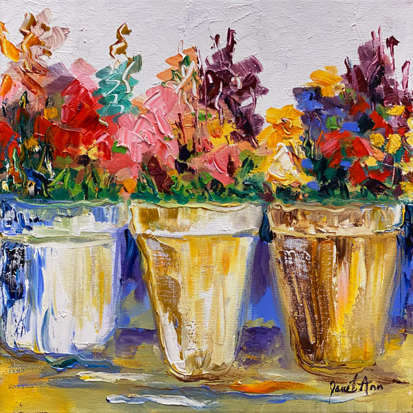 J Woods   Three Pots Of Flowers Art | Branson West Art Gallery - Mary Phillip