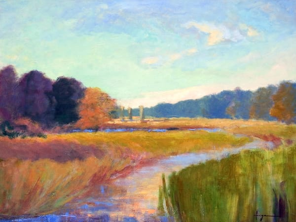 Beautiful Marsh Print on Canvas, Painting by Dorothy Fagan