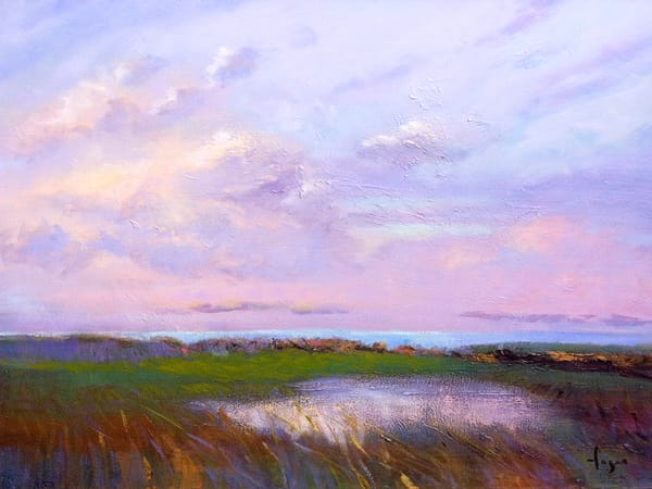 Oversize Coastal Marsh Painting, Canvas Art Print by Dorothy Fagan