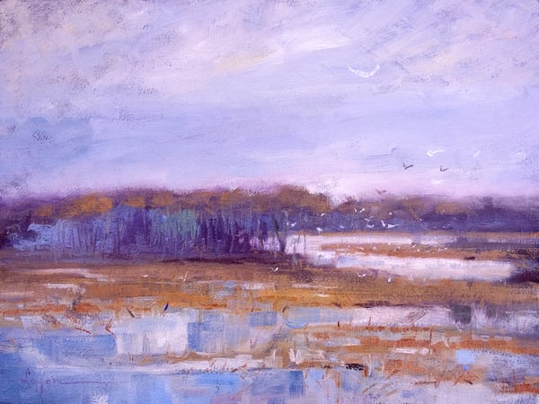 Oversize Marsh Painting with Birds, Canvas Art by Dorothy Fagan