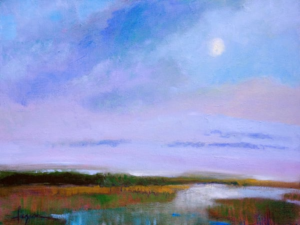 Moon Rise on Marsh, Fine Art Print on Canvas by Dorothy Fagan