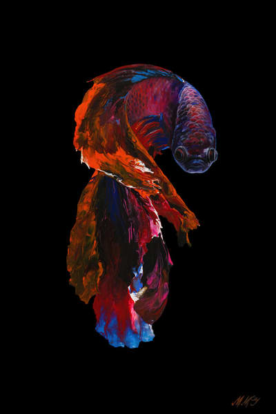 Dragon Betta Fish | Original Mixed Media Painting Art | MMG Art Studio | Fine Art Colorado Gallery