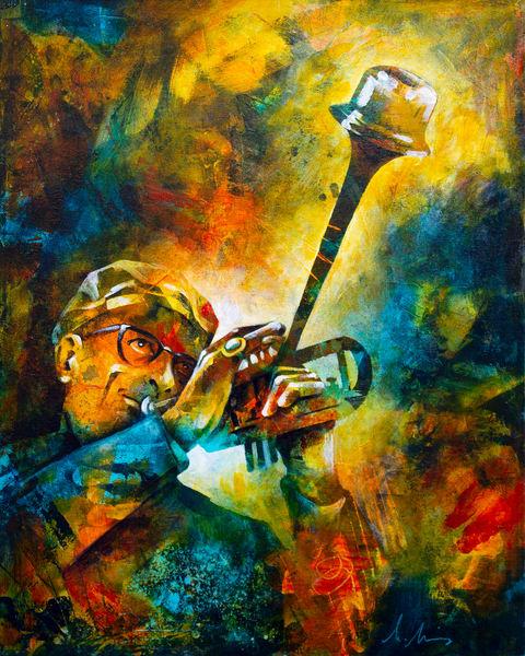 Original painting of jazz legend Dizzy Gillespie