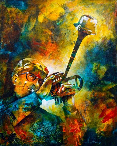 Fine art print of jazz musician Dizzy Gillespie