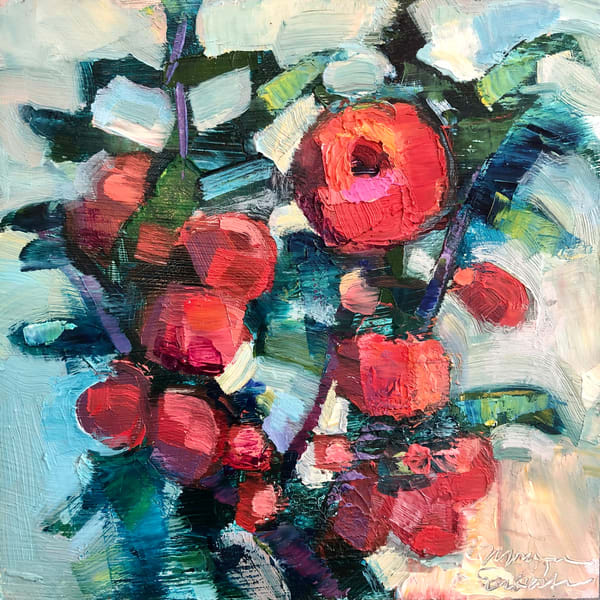 """Stunning expressionist floral painting by Monique Sarkessian """"Heaven Landscape Pink Quince Tree"""" of wild growing quince."""