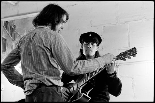 "Fall River, Massachusetts - 18 February 1968. Ian Underwood (left) and Jim ""Motorhead"" Sherman of The Mothers of Invention backstage prior to a performance."
