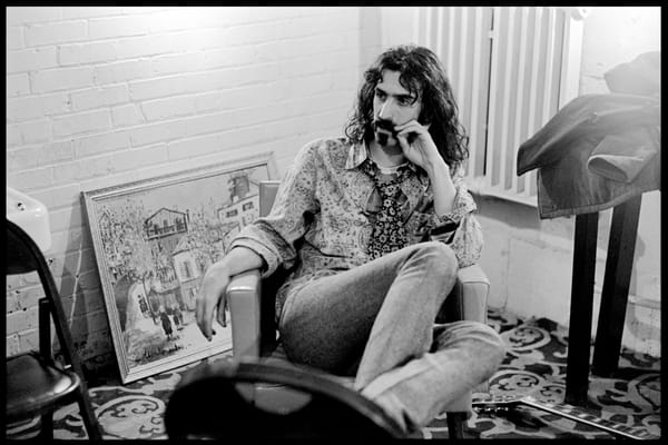 Fall River, Massachusetts - 18 February 1968. Frank Zappa of The Mothers of Invention backstage prior to a performance.