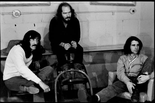 Fall River, Massachusetts - 18 February 1968. (Left to right) Jimmy Carl Black, Ray Collins, and Ian Underwood of the Mothers of Invention backstage prior to a performance.