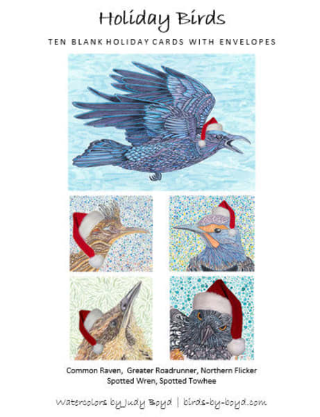 Holiday Bird Note Cards by Judy Boyd Watercolors