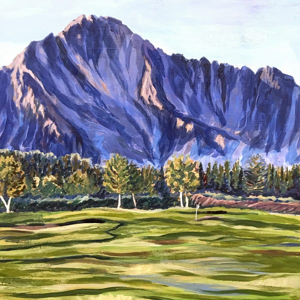 Alaska mountain and golf art print on canvas, wood, metal, acrylic or paper