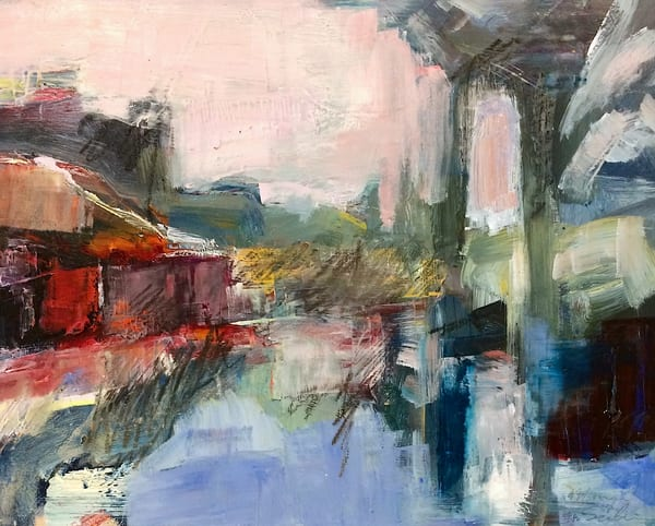 """""""Elevation 2"""", 0il and mixed media on wood  urban landscape  8""""x10"""" by Monique Sarkessian."""