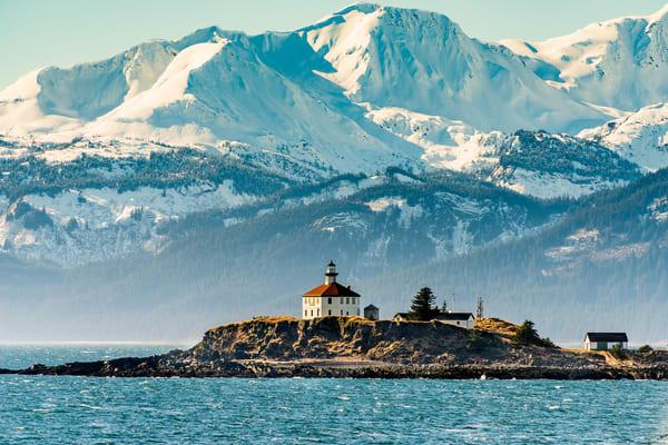 Eldred Rock Lighthouse In Sea Spray Art | Alaska Wild Bear Photography