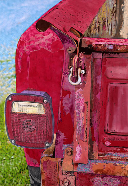 Rear View | Art by Meryl Cohen | Giclee Print | Antique Car| Retro Painting | Canvas Print with Free Shipping | Ready to Hang